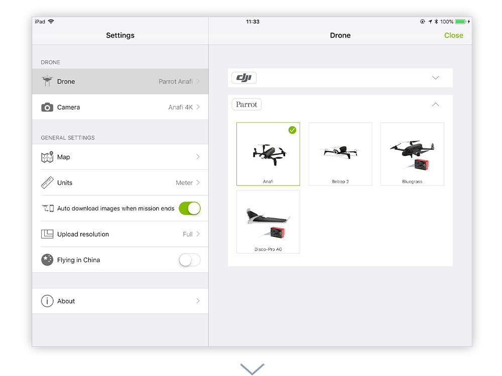 To start planning the flight path first select your drone from app