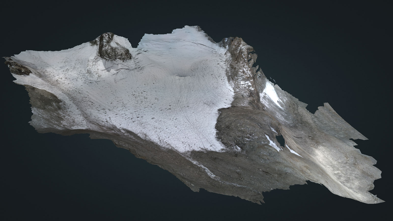 A 3D model of a glacier created in Pix4Dmapper