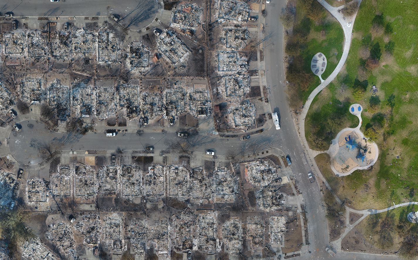 Aerial photography was used to create the map of Coffey Park after Santa Rosa Fire Storm