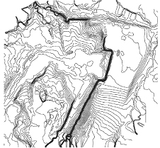 Contour lines produced in Pix4Dmapper