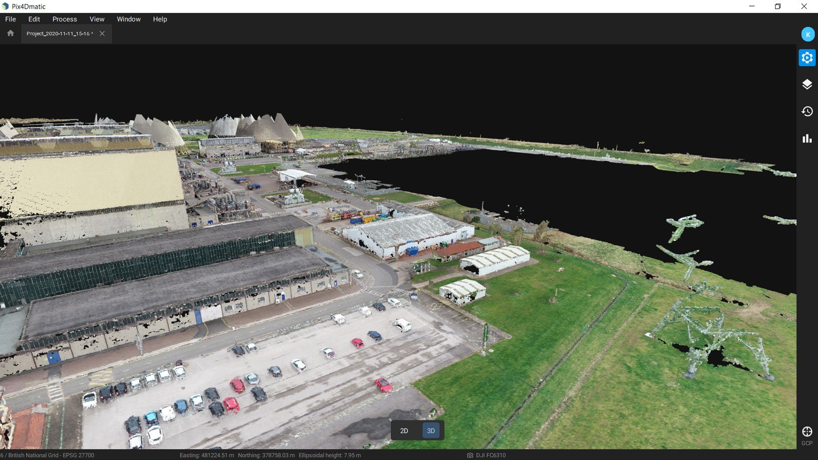 Dense point cloud of the power plant