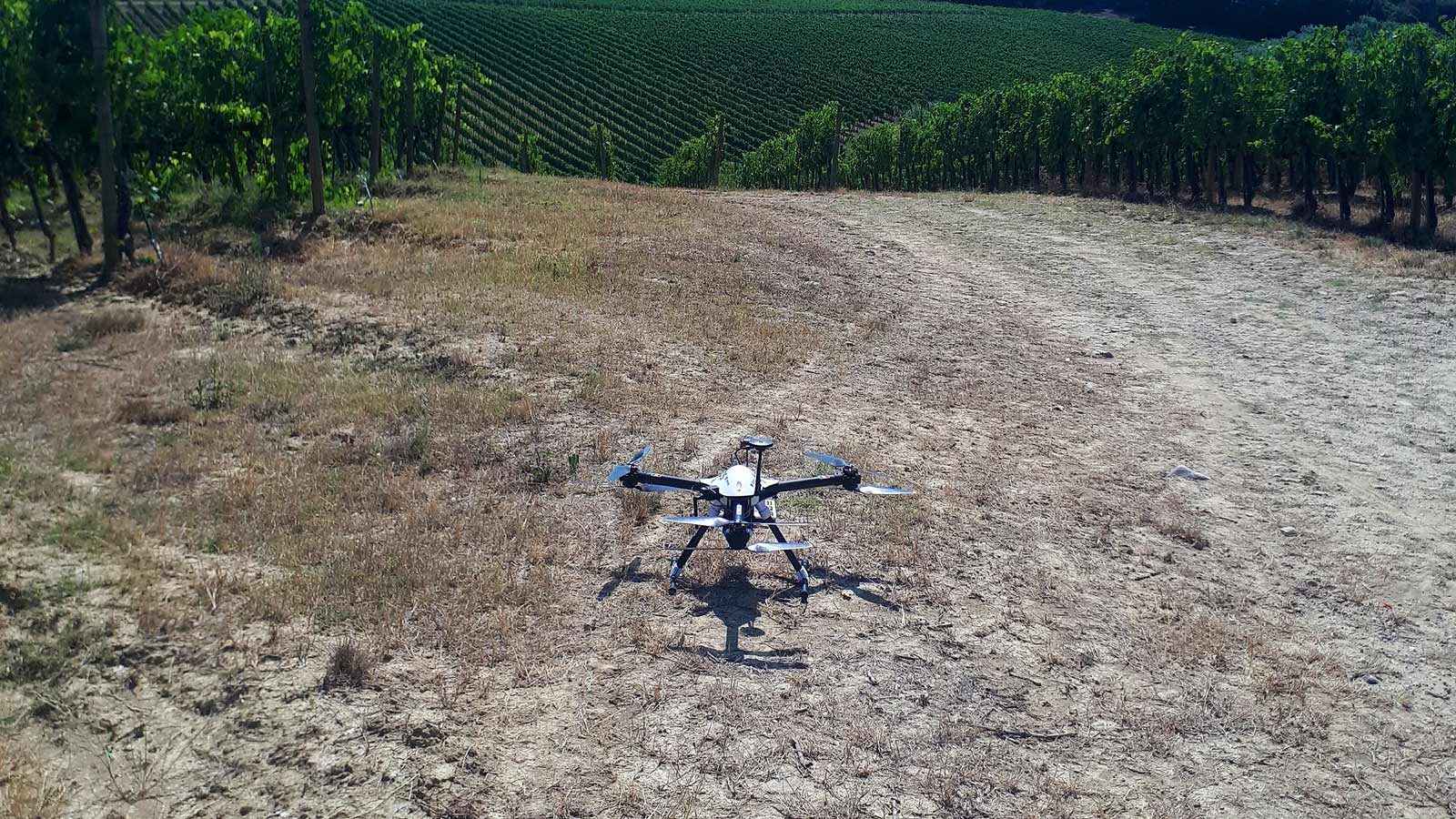 Chianti Classico winery with the hexacopter Zephyr EXOS ready to fly