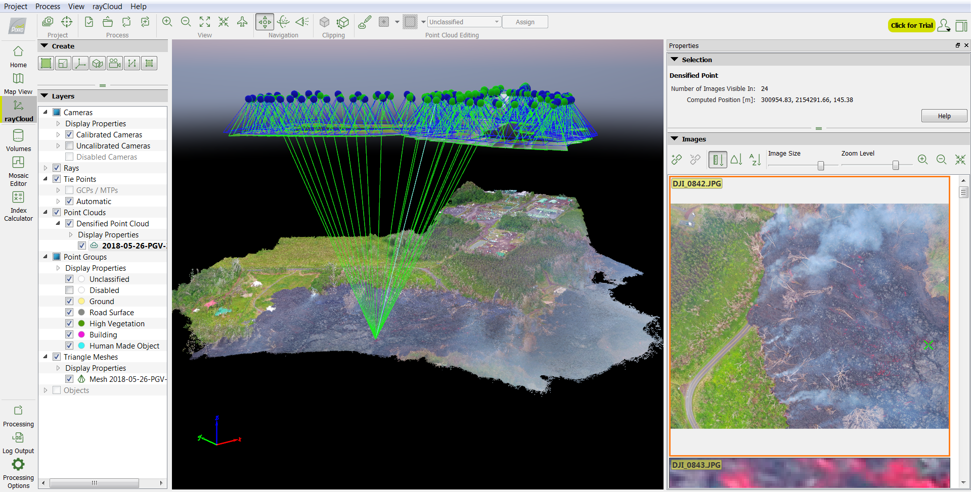 Mapping a volcanic lava flow with Pix4Dmapper