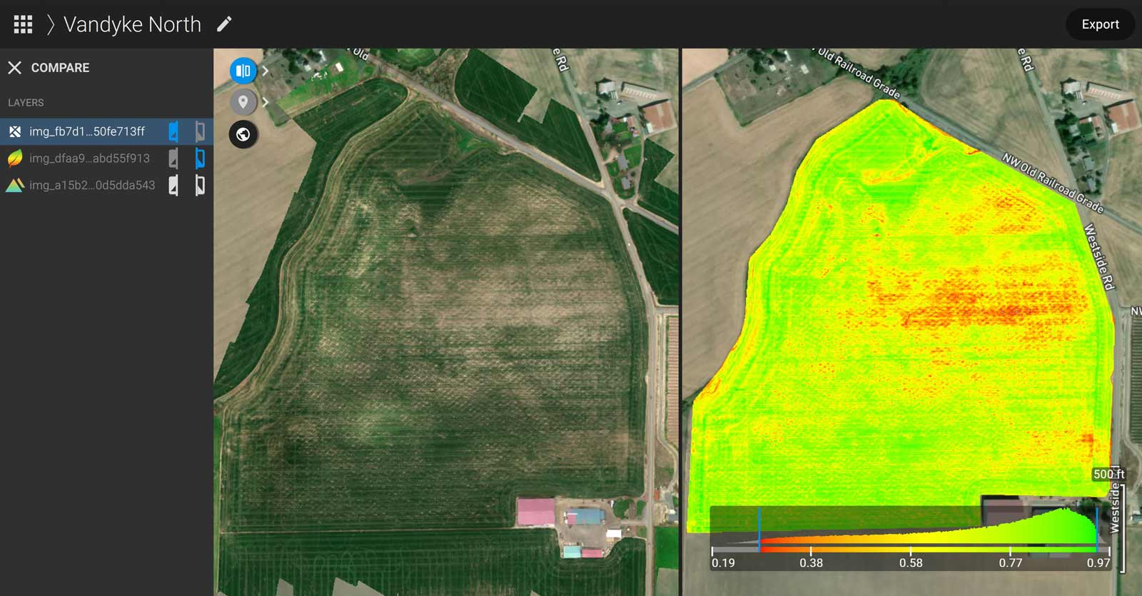 Comparing an orthomosaic and NDVI maps in PIX4Dfields