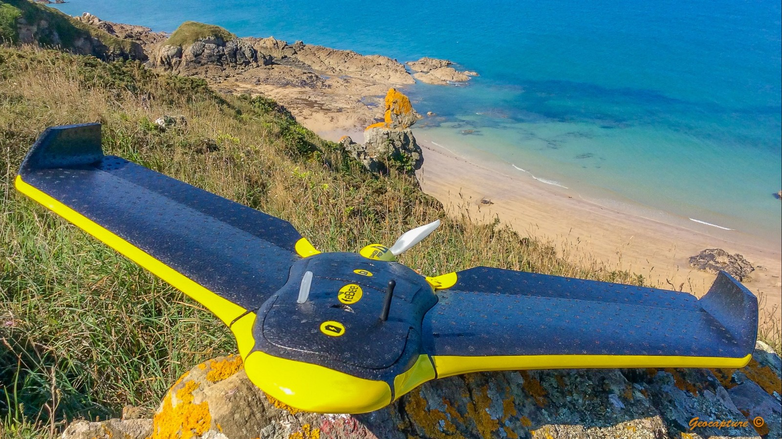 A Sensefly eBee drone ready for takeoff