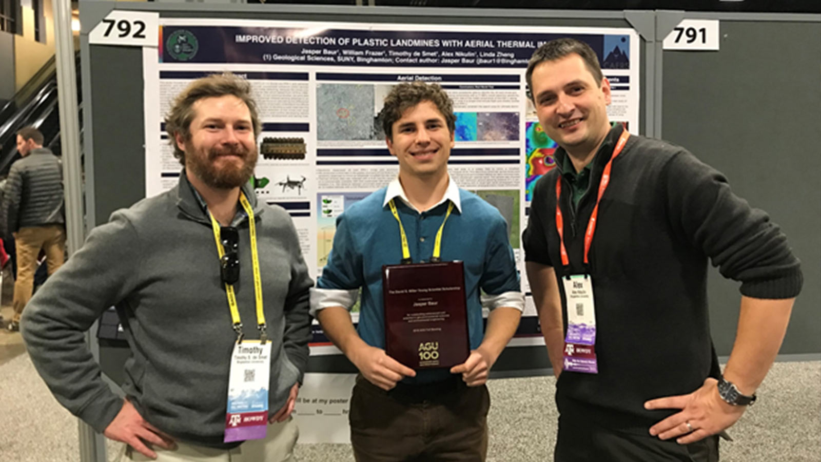 The team won the 2018 Tech Briefs Create the Future Design Contest: Aerospace and Defense Category - left to right: Timothy S. de Smet, Jasper Baur, Alex Nikulin, William Frazer