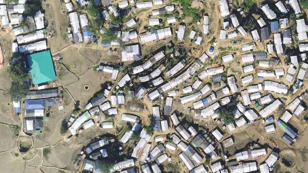 aerial photography of a refugee camp taken by drone
