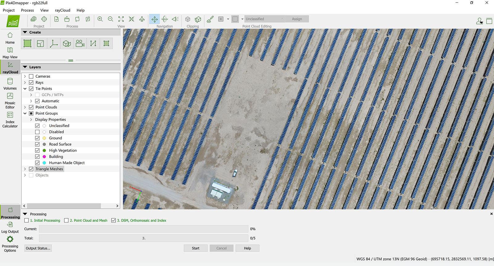 Solar farm in interface of Pix4Dmapper