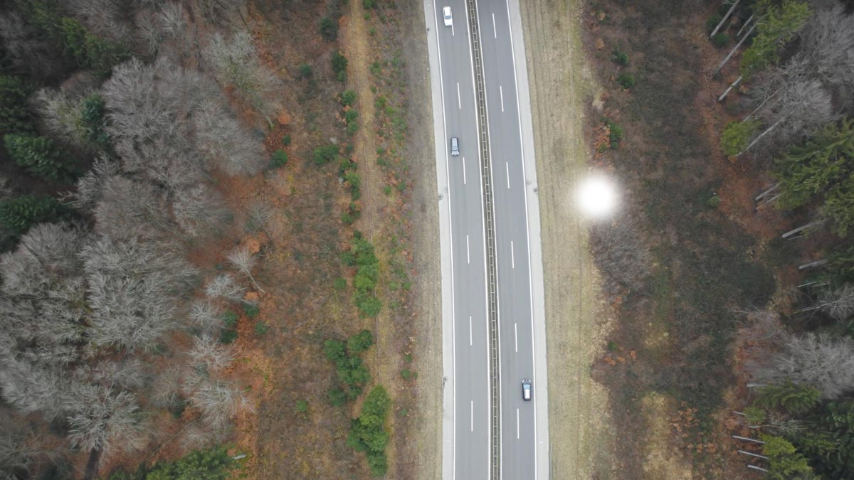 Photo of a highway captured by a drone