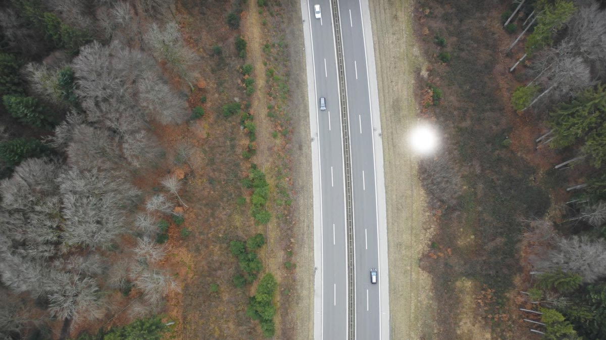 Aerial photo of a highway taken from a drone.