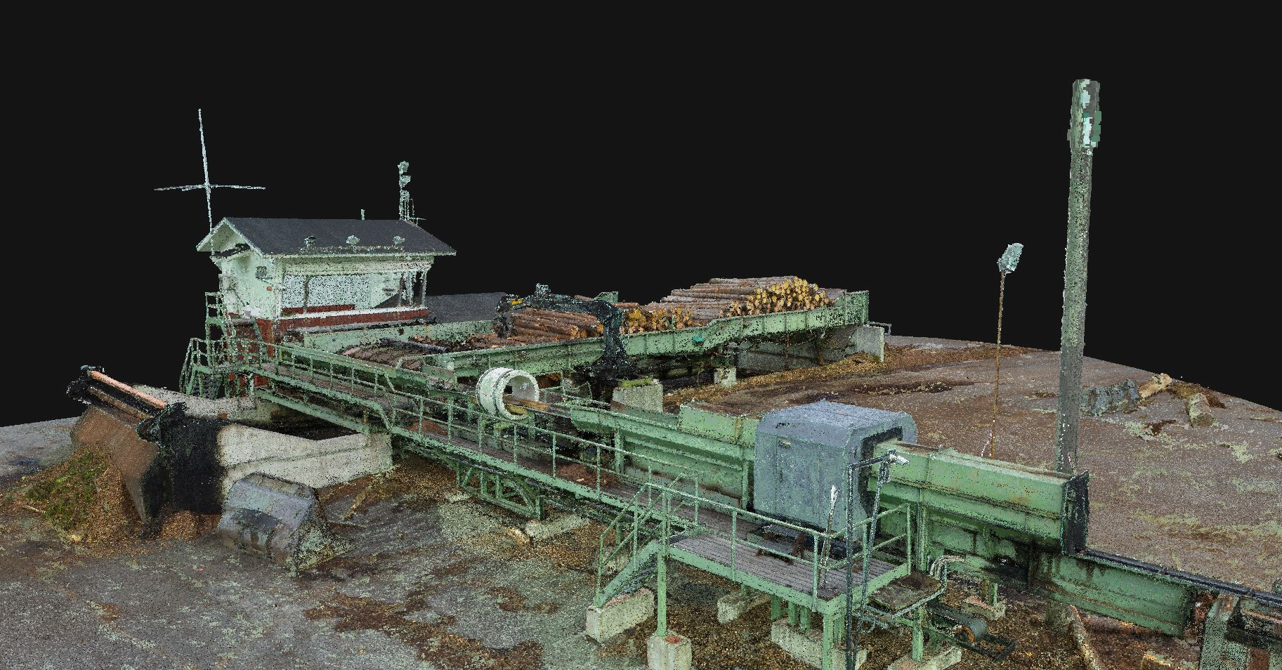 point cloud of the lumber milling