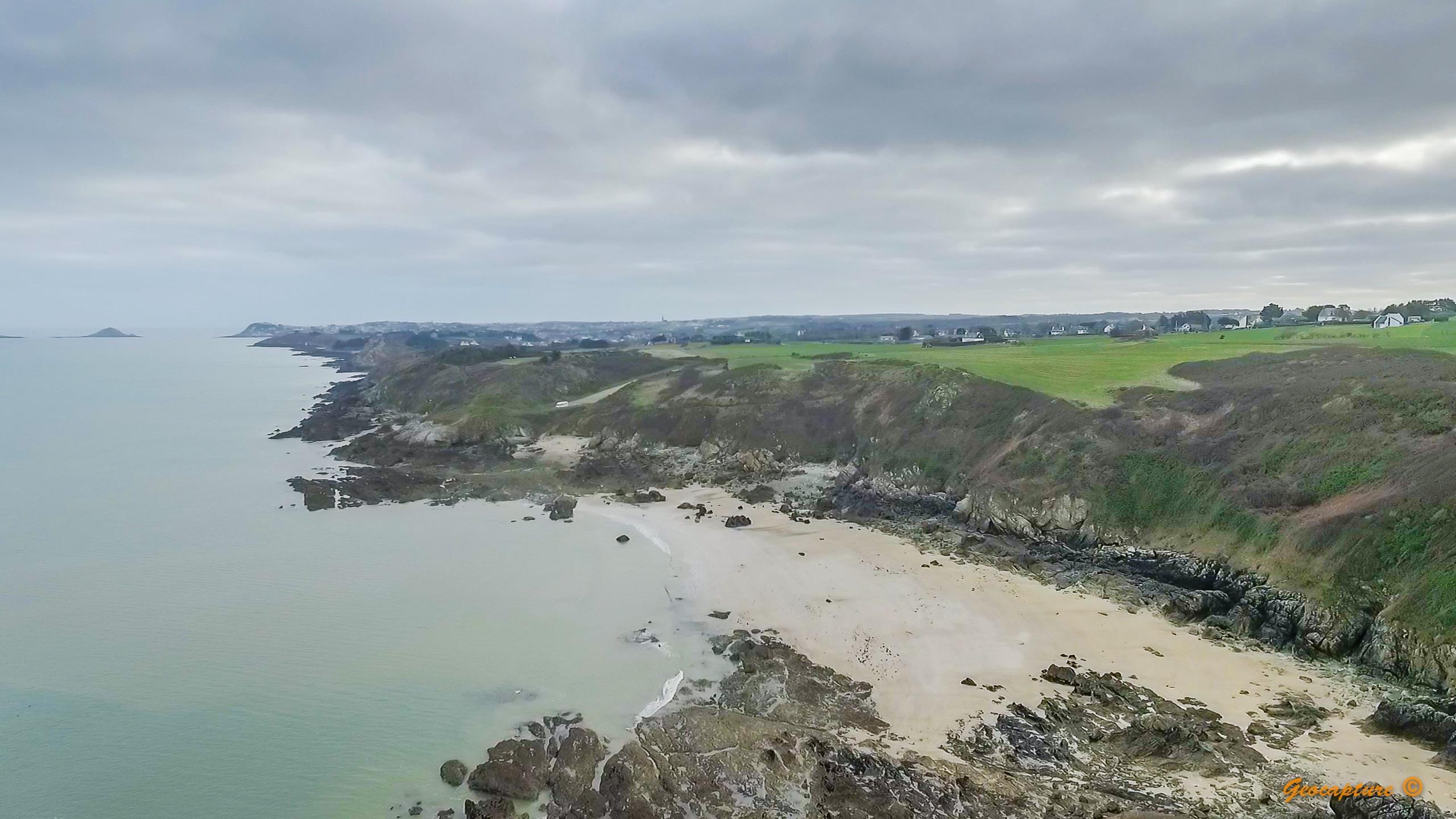 Drone image of a coastline
