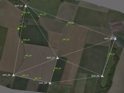 check points displaying the accuracy of the RTK drone