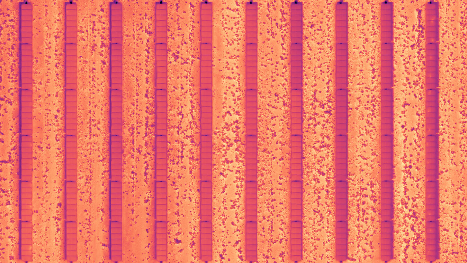 Thermal image of rows of solar panels
