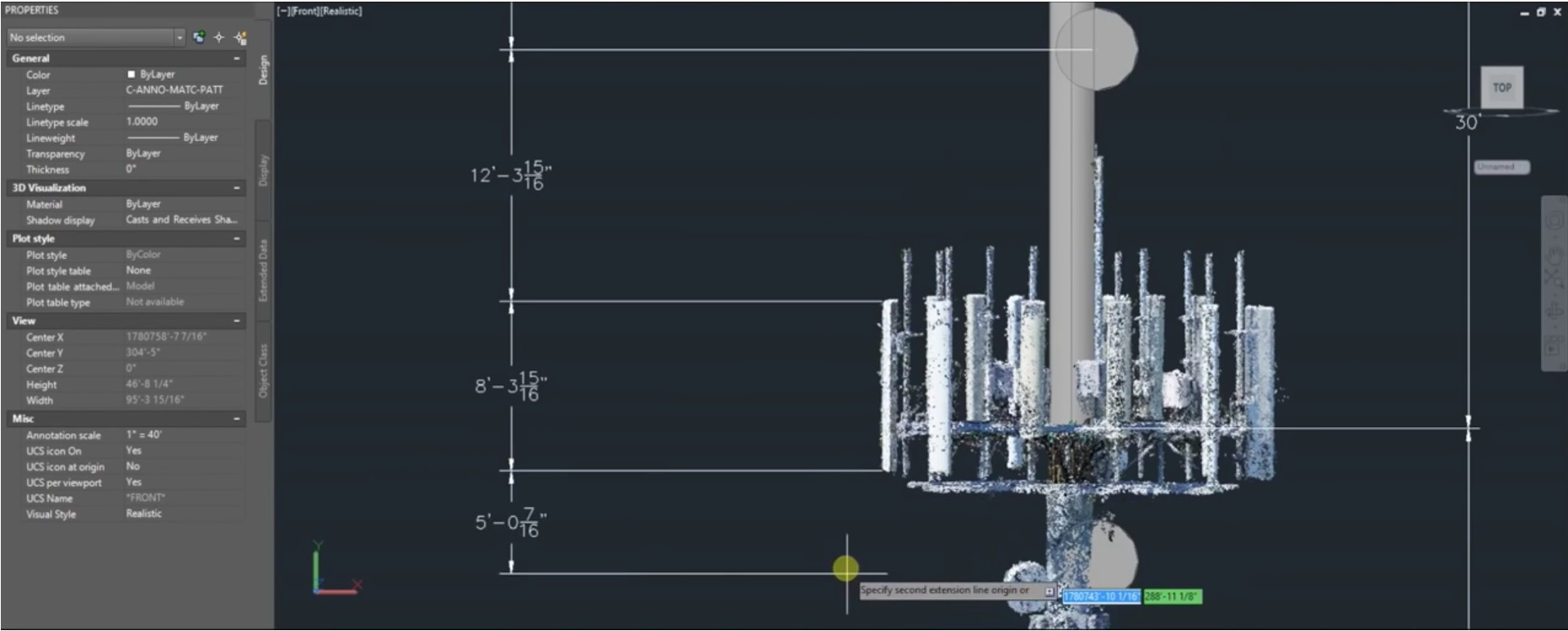 Cell tower measurements in CAD software