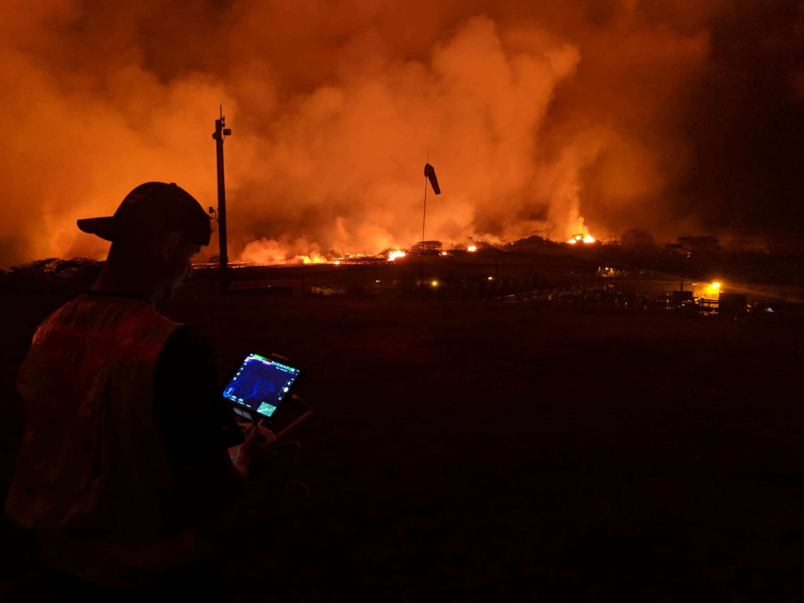 Thermal cameras allowed the team to fly drones at night and through dense volcanic smoke
