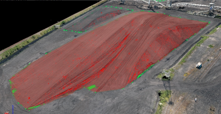 3D modeling of a stockpile from a drone survey