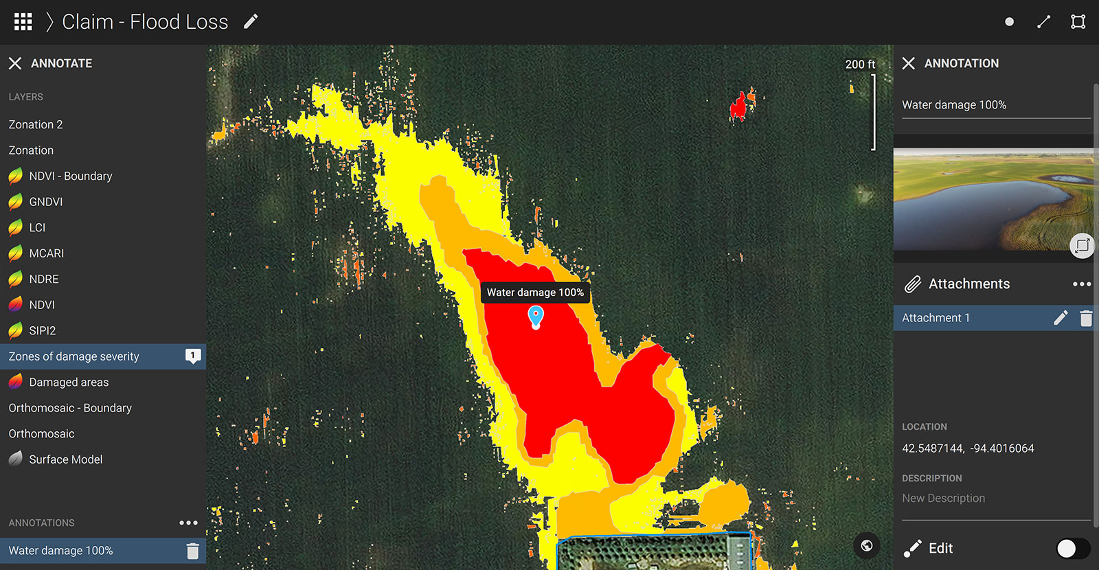 Annotation tool in Pix4Dfields with attached images of the damaged areas from the field