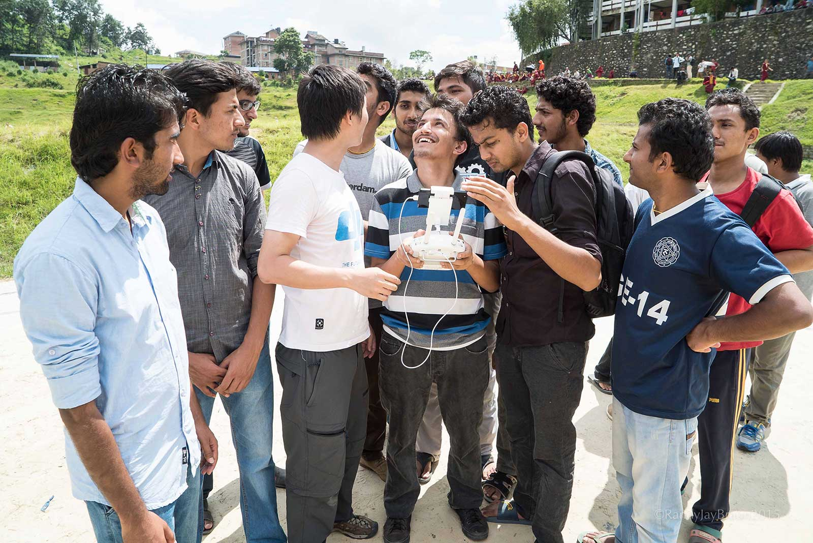 Students from Kathmandu University working with Pix4Dcapture