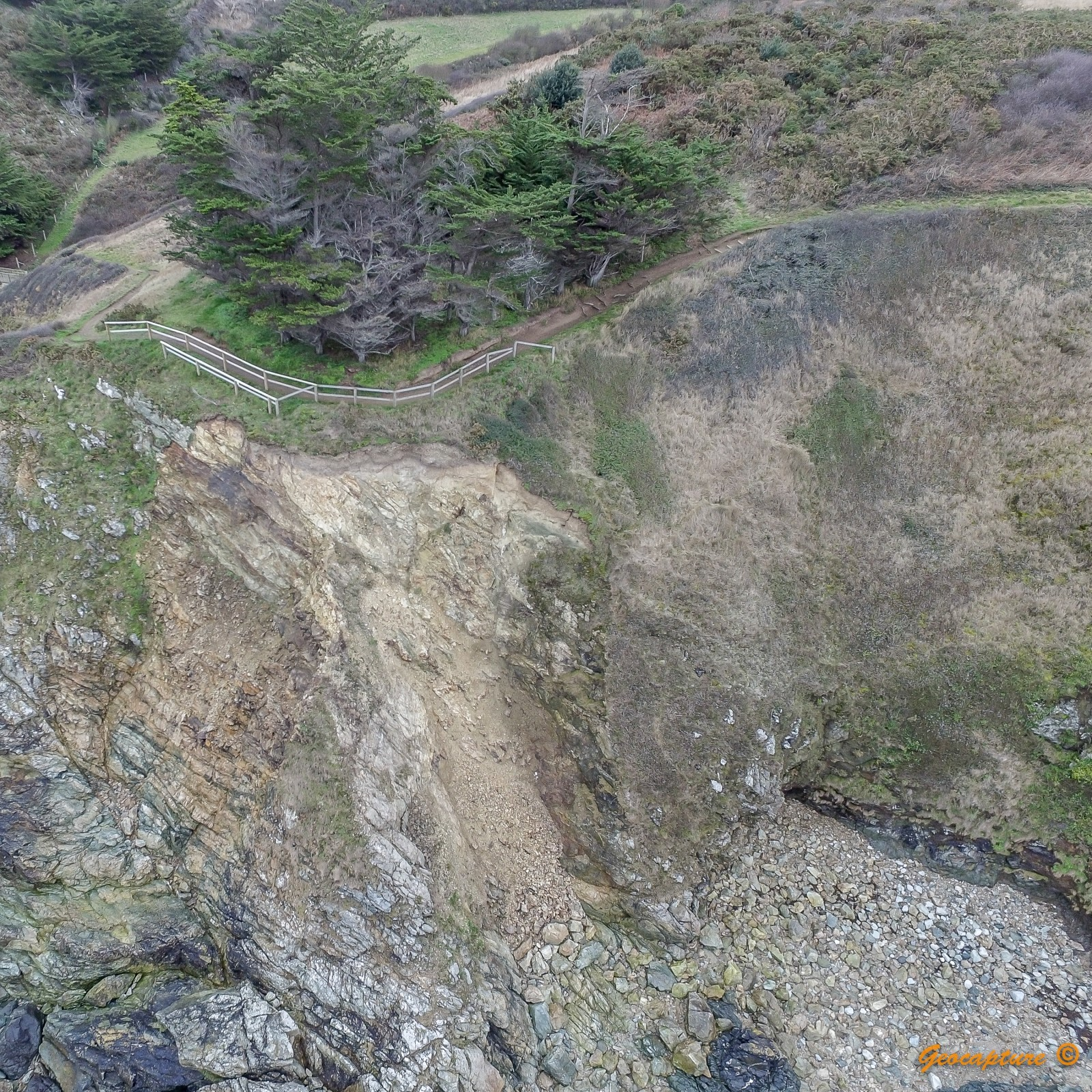 Aerial image of a cliff slip