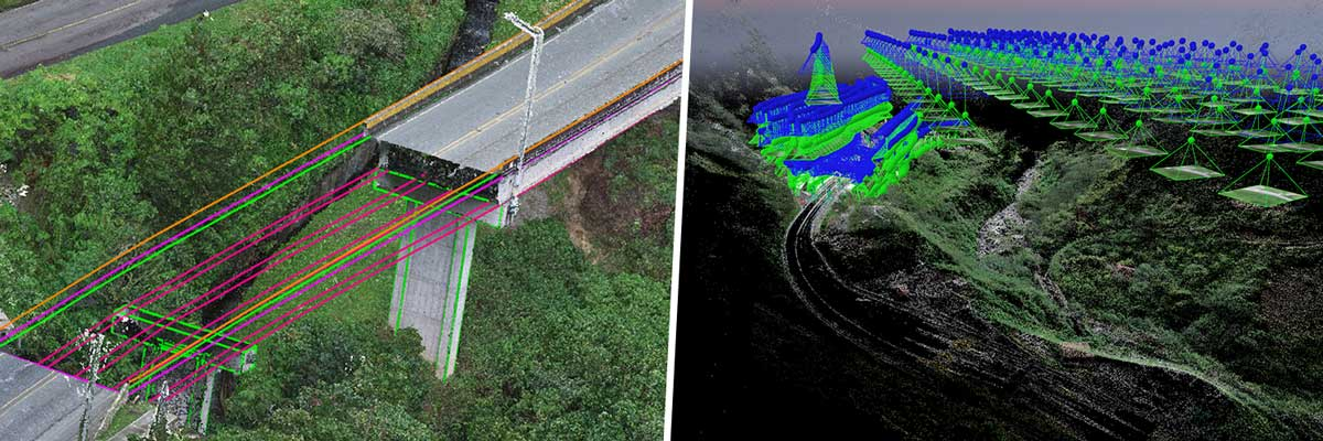 3D rendering of bridge project showing projected work and rayCloud using photogrammetry software and drone mapping.