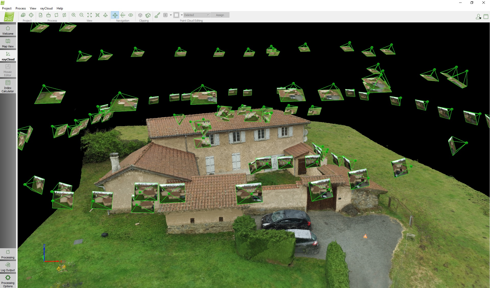 Images in Pix4D point cloud.