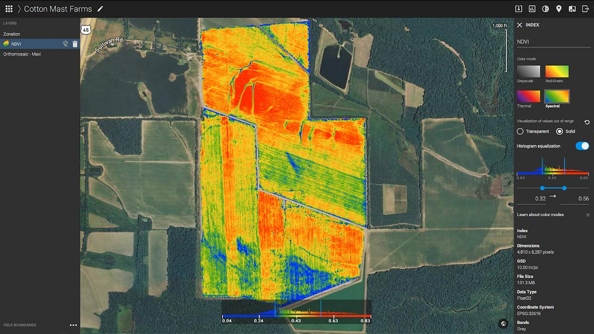 NDVI map of the cotton field
