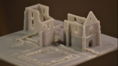 A 3D print of the ruins of the Abbey of Chatelier,