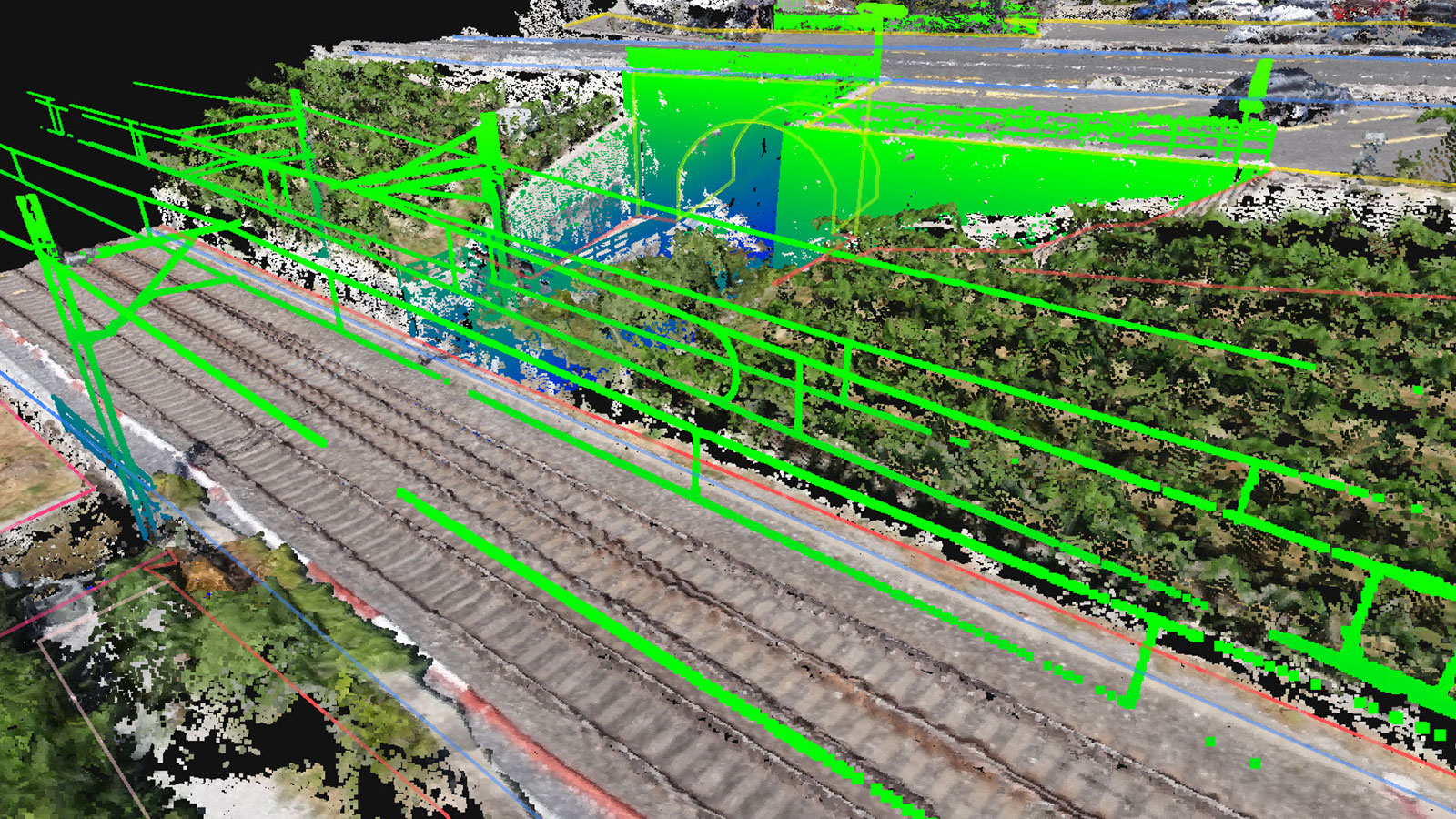 Point cloud of a railway track in Switzerland
