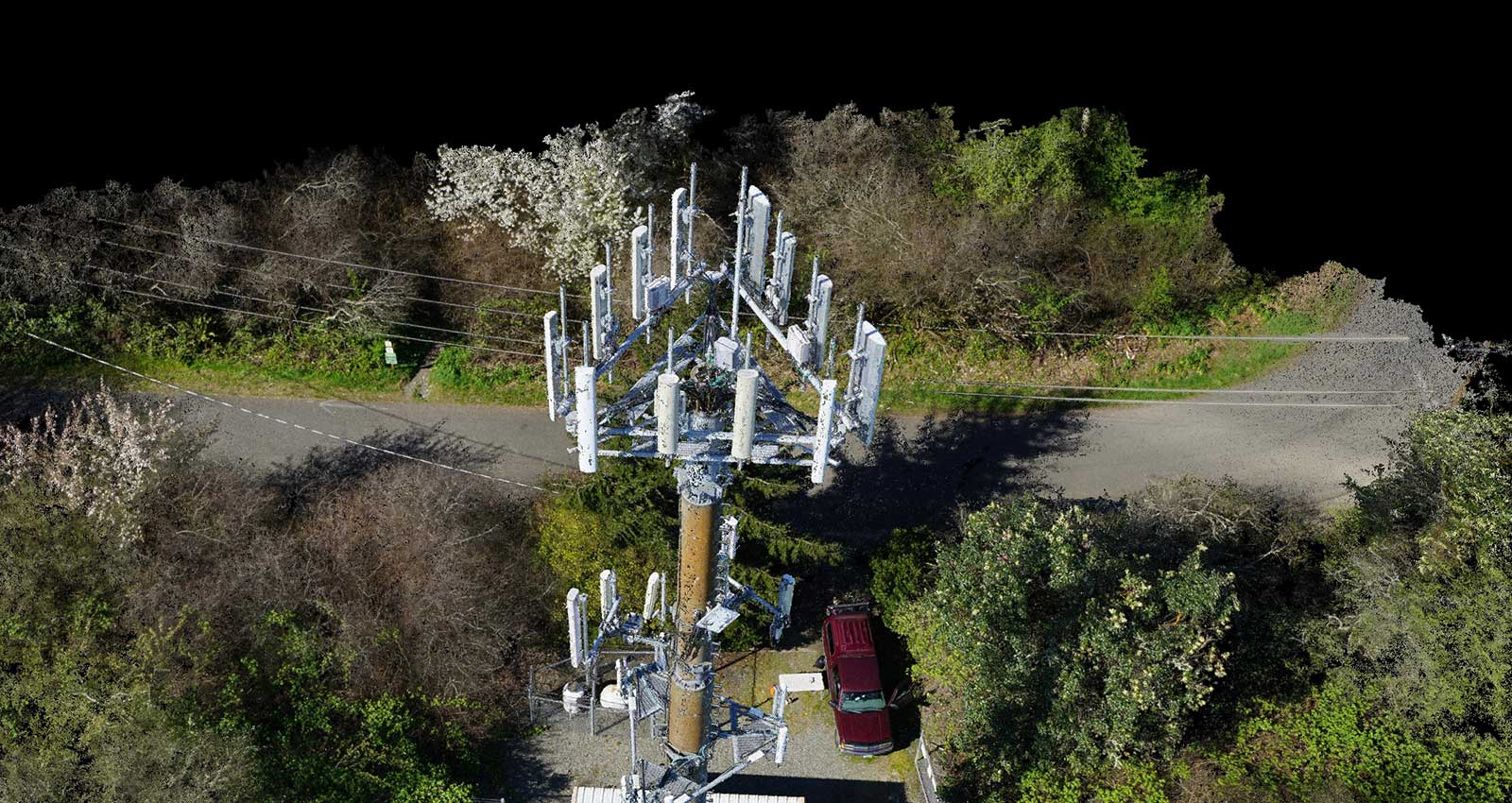 3D point cloud of the cell tower, created with drone images.