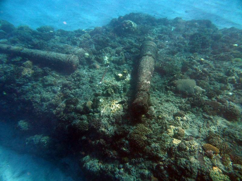 Wreckage underwater.