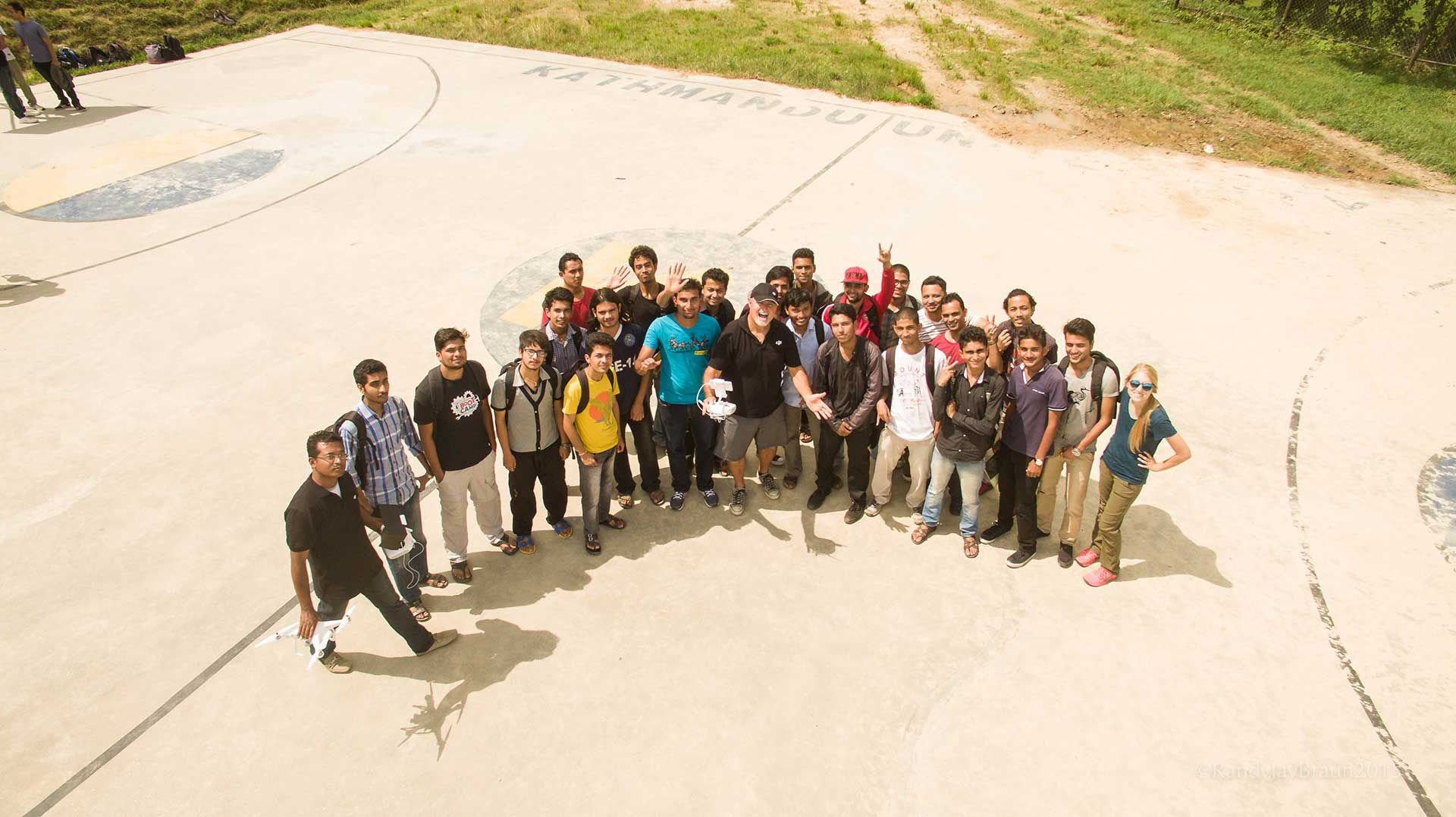A drone image of Kathmandu University's team with Randy Braun.
