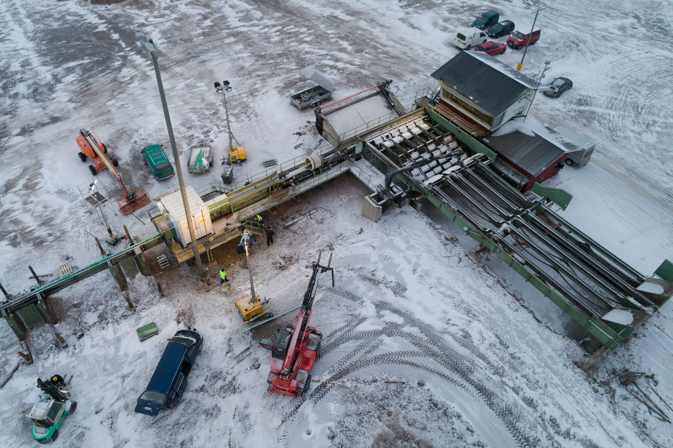 Drone image of heavy machinery being installed
