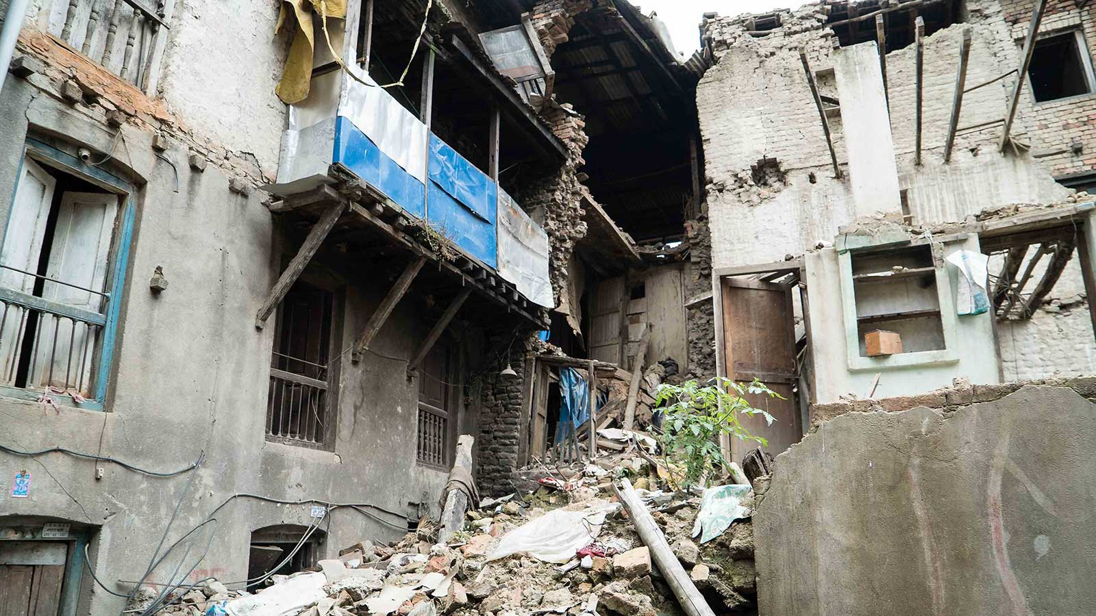 Collapsed buildings in Nepal