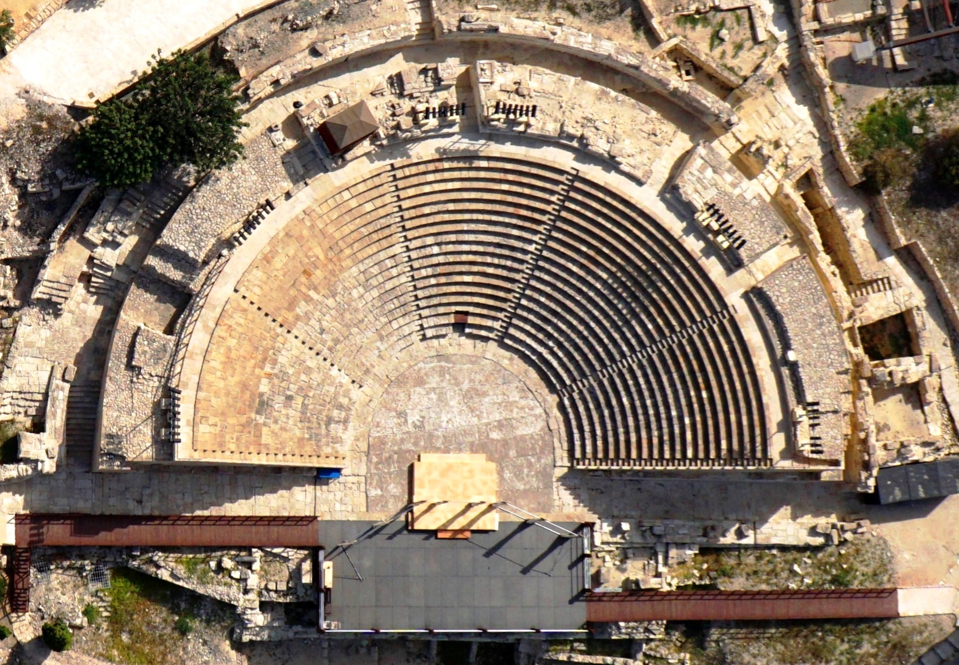 An aerial view of the amphitheatre