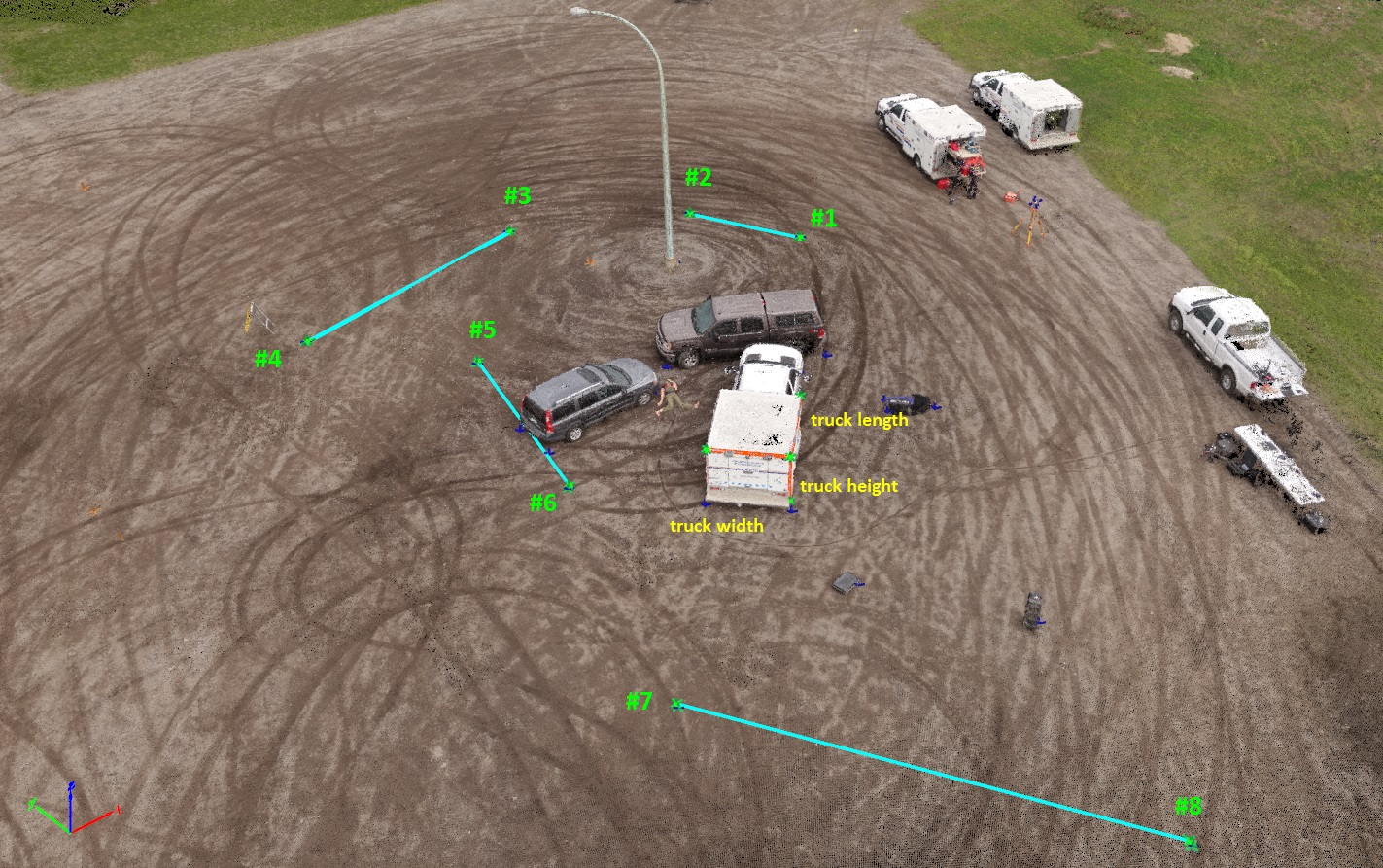 collision scene with measurements in Pix4Dmapper