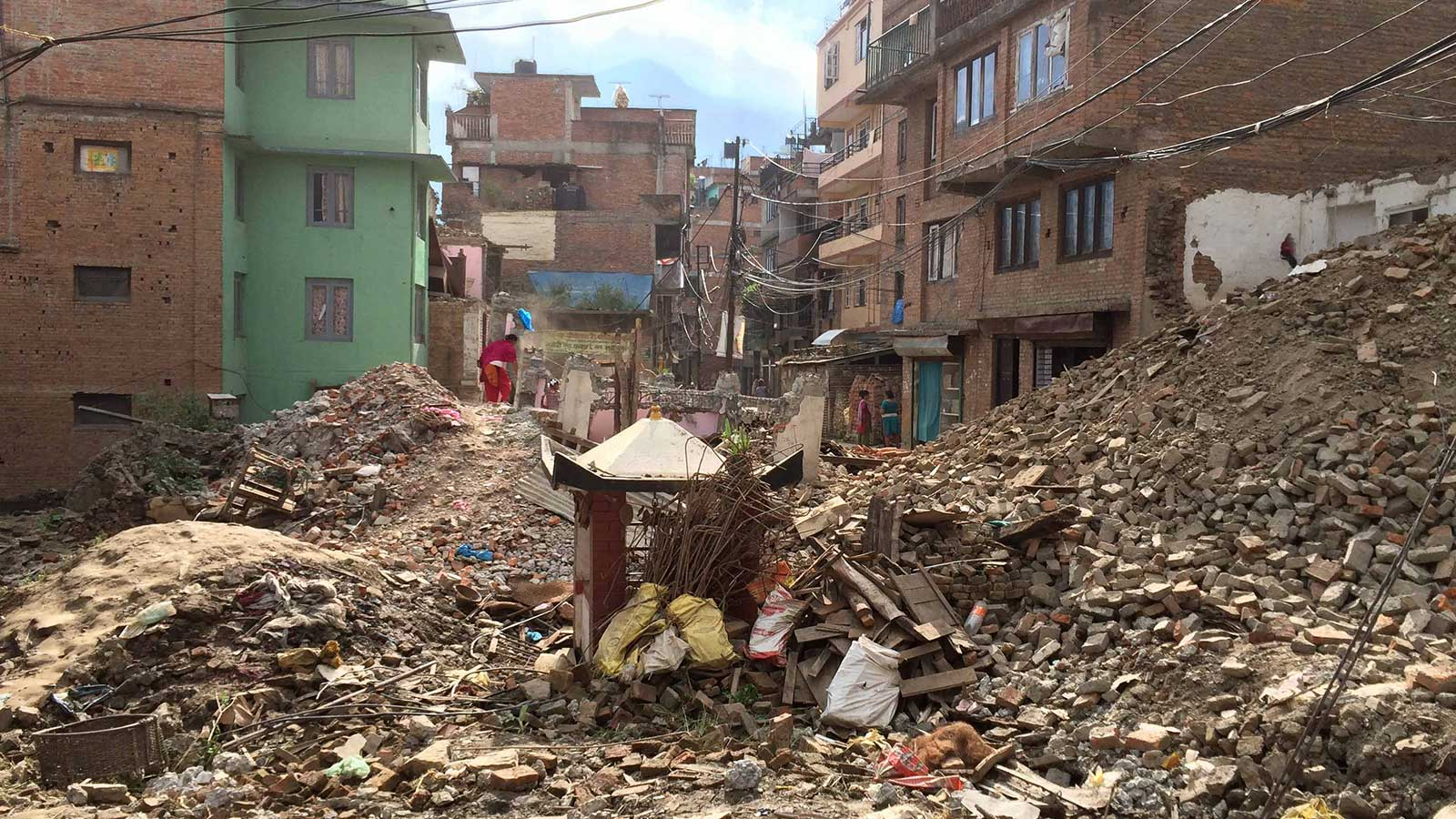 Rubble on the streets of Nepal
