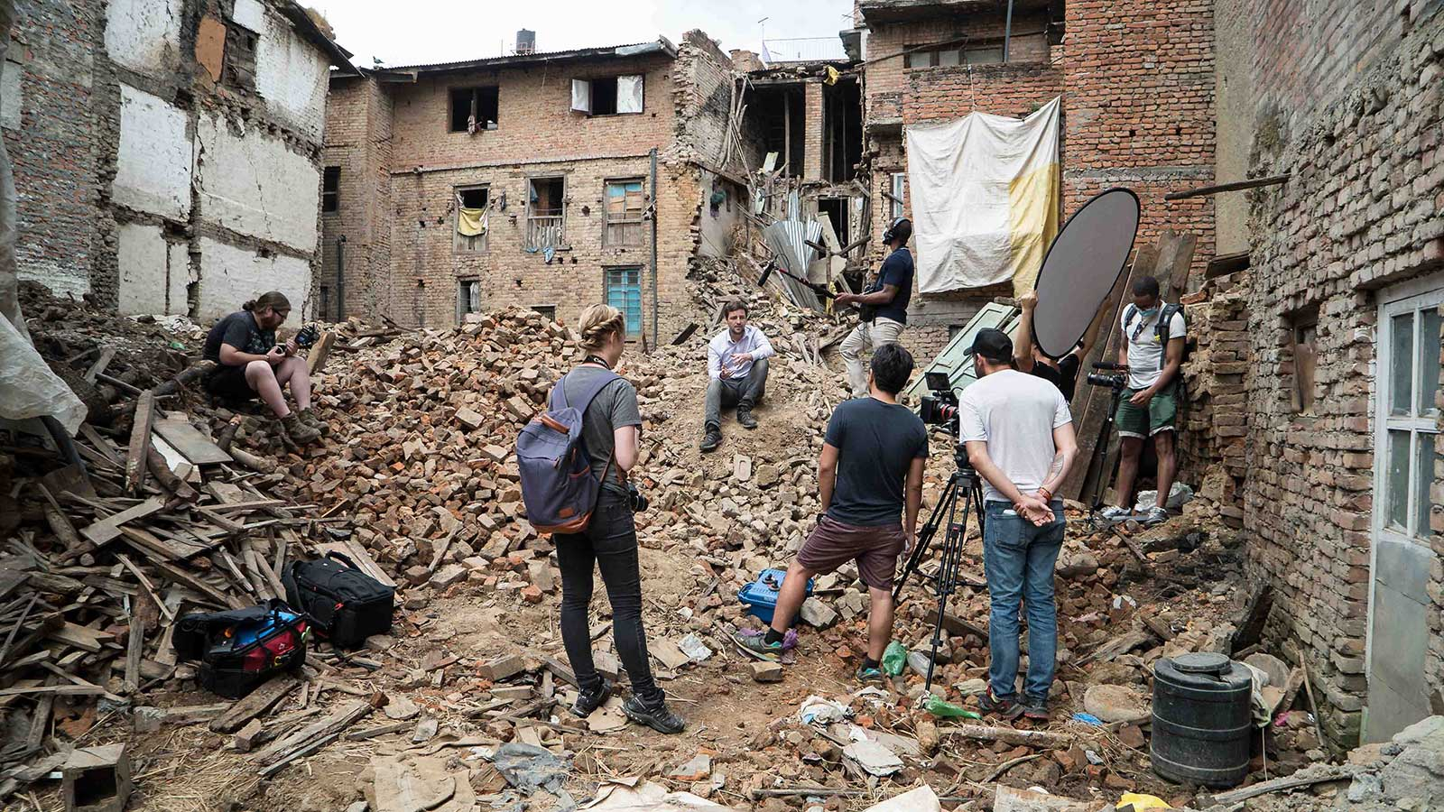 Interview in the streets of Nepal after the earthquake