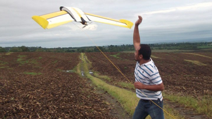 launching the QuestUAV Agri-Pro fixed wing drone