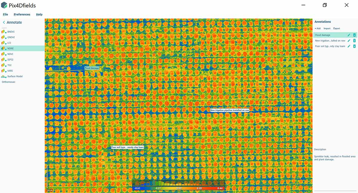 NDRE index map created from drone images for crop protection in agriculture