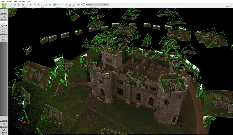 A rayCloud showing how the images come together to create the 3D model.