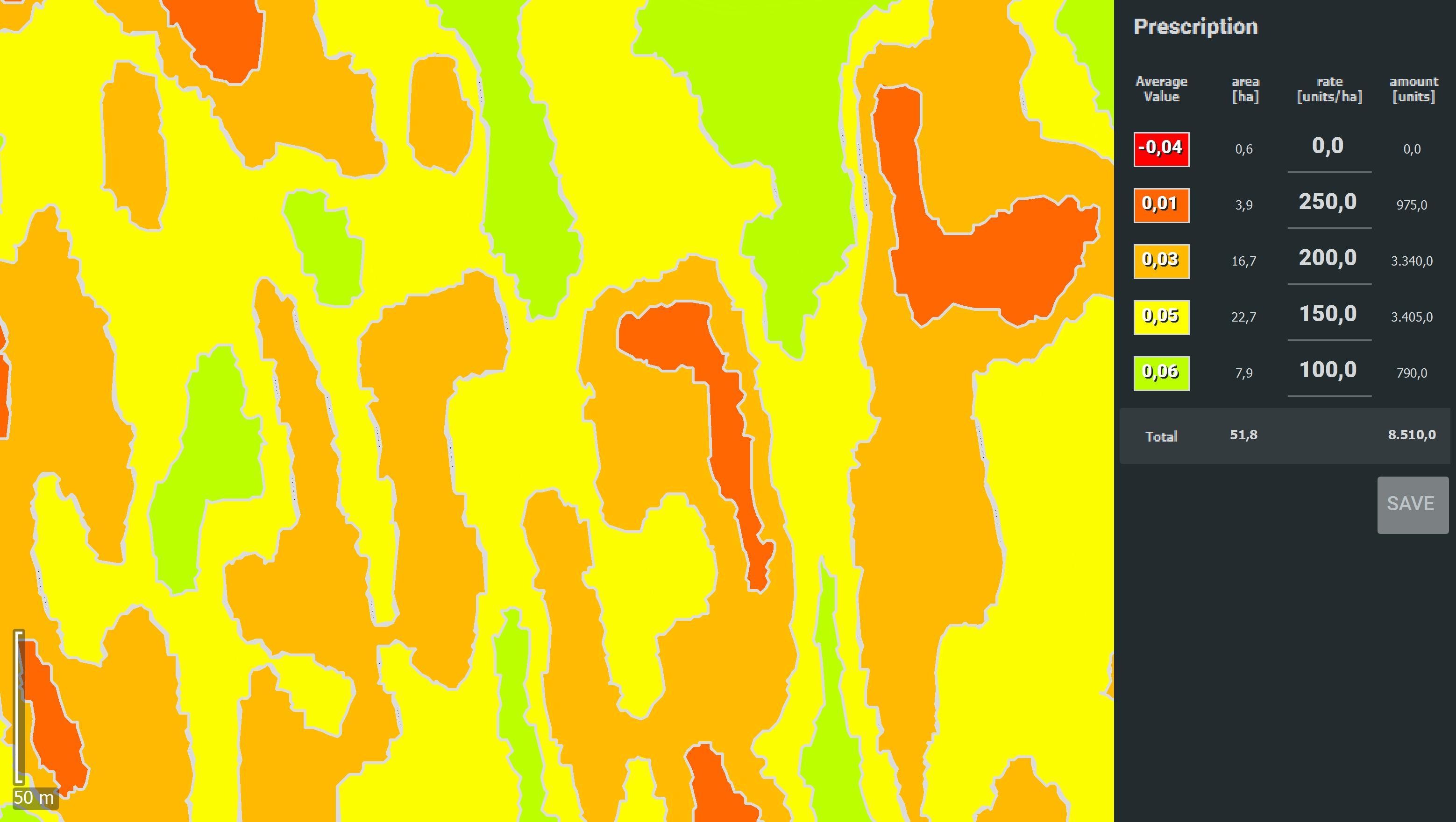 IMAGE OUTPUTS PIX4DFIELDS perscription map