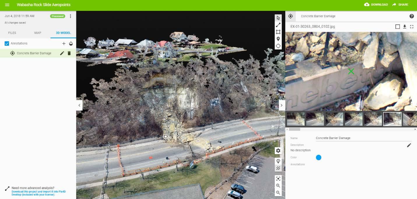 Images of the Wabasha Street rockslide in Pix4Dmapper Cloud