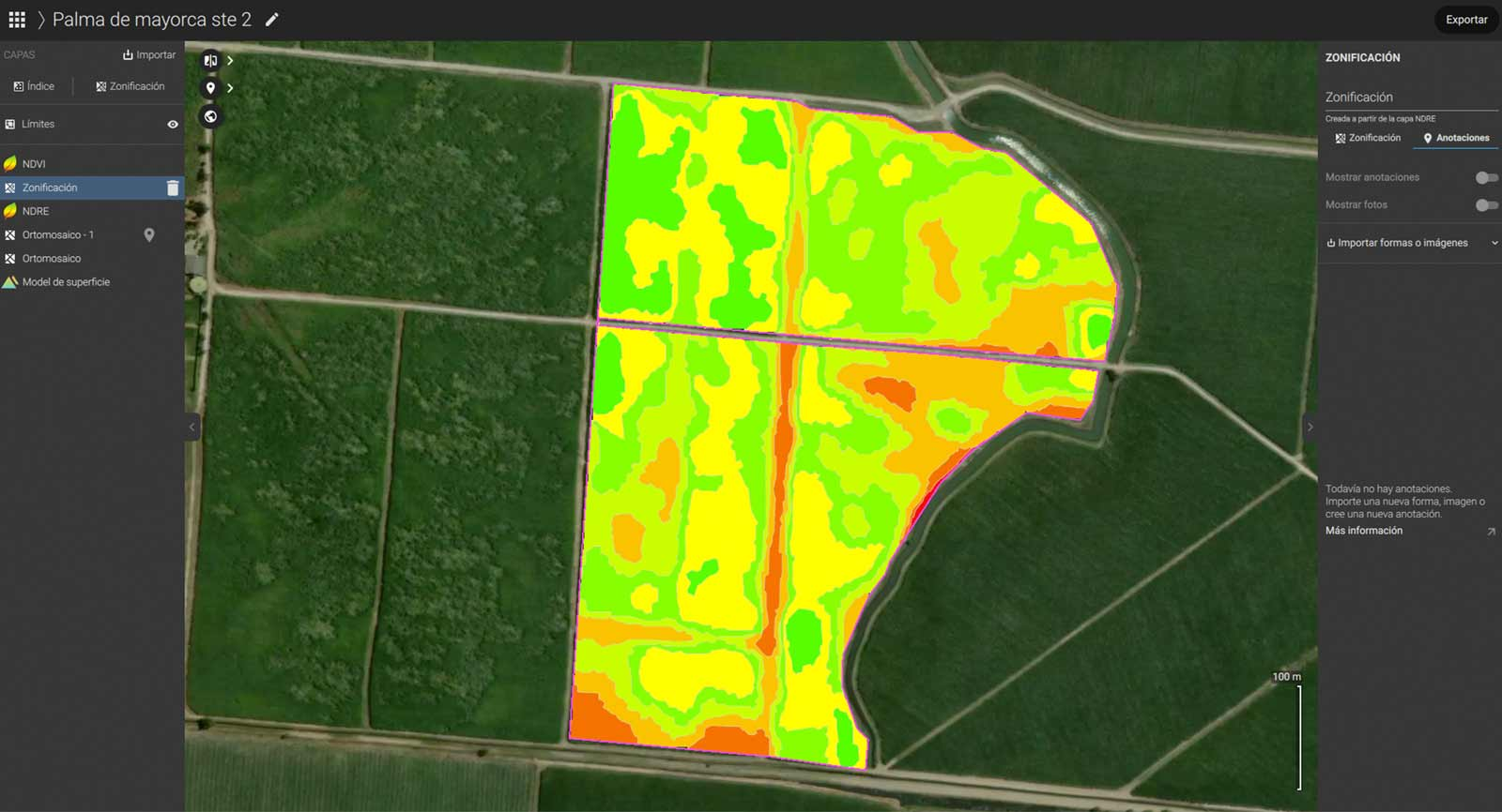 Variable-rate application map of sugarcane created in Pix4Dfields