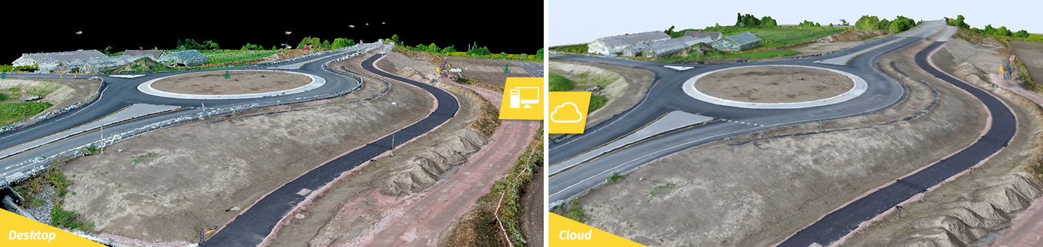 Two similar side by side images of a project released on desktop and in the cloud.