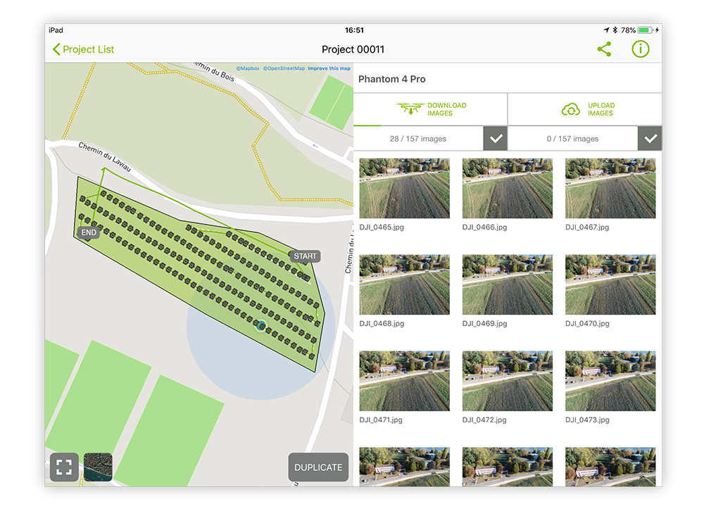 Check your images directly in the Pix4Dcapture drone mapping app while still on site and avoid inconvenient remapping