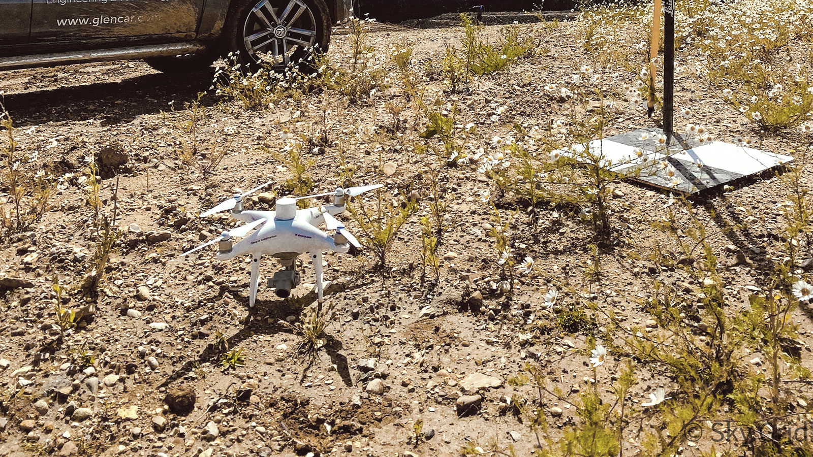 drone ready to launch for site surveying