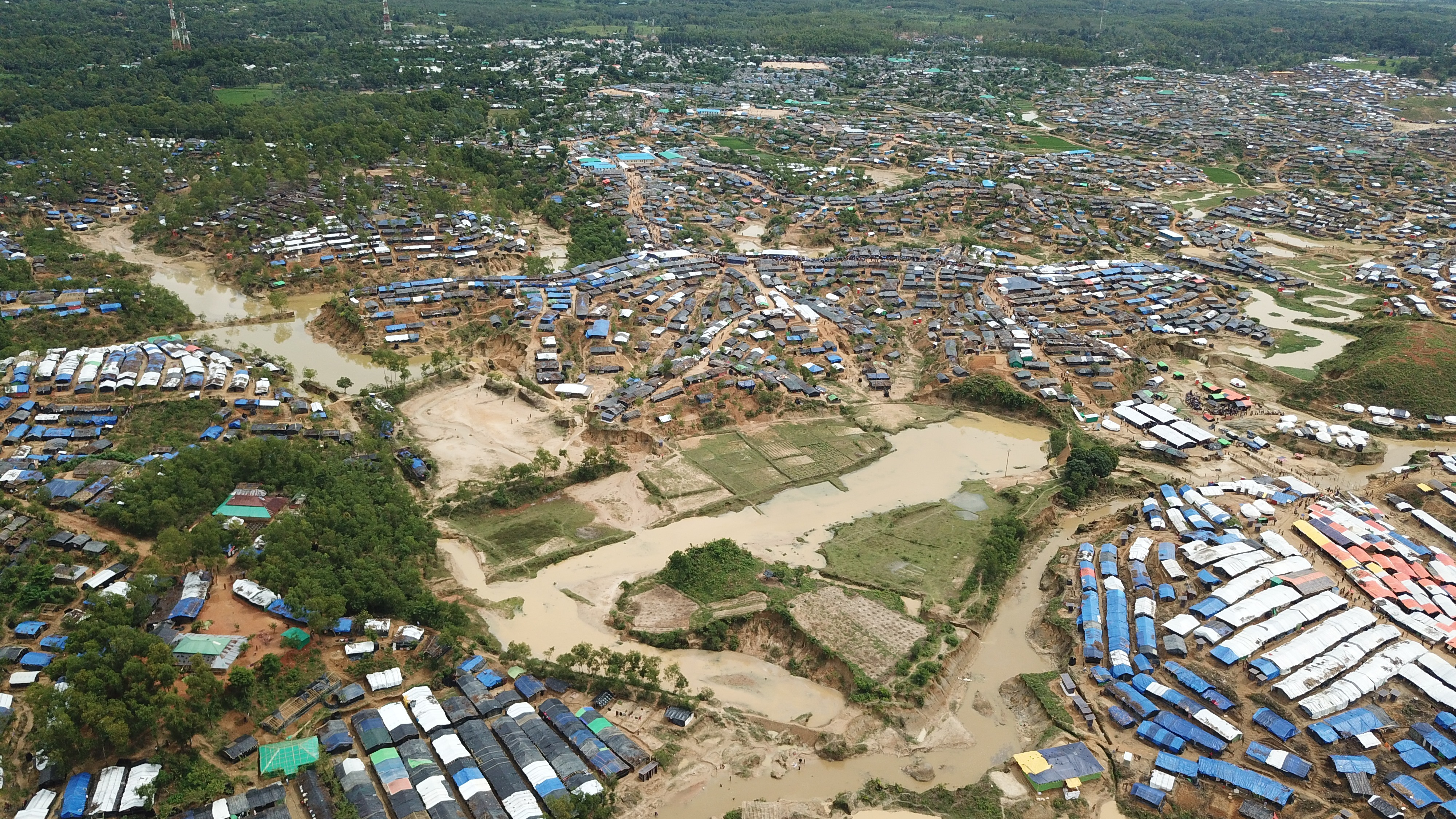 drone map of a refugee camp