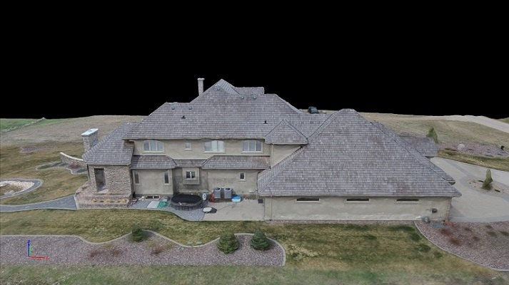 Back aerial view of house.