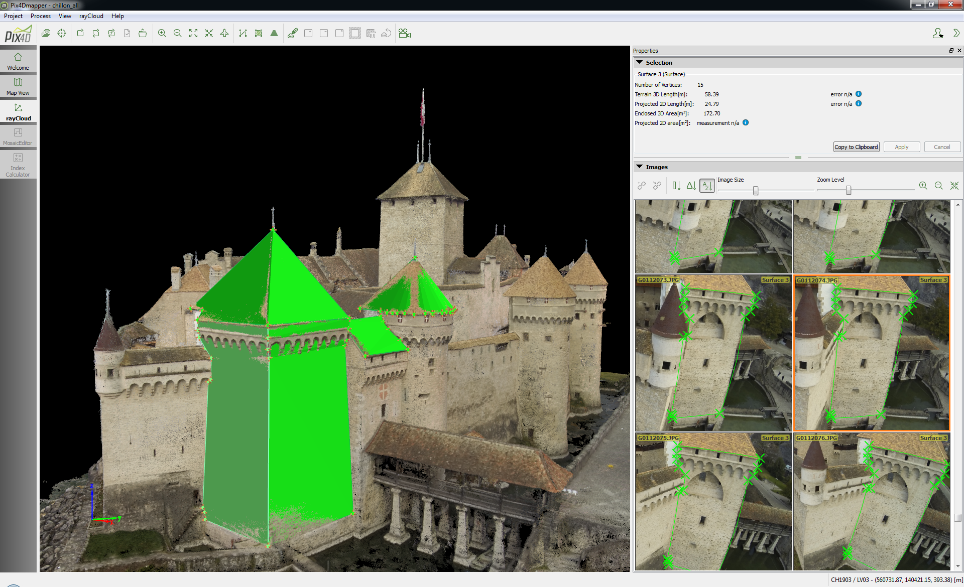 Working with Chillon castle in Pix4Dmapper